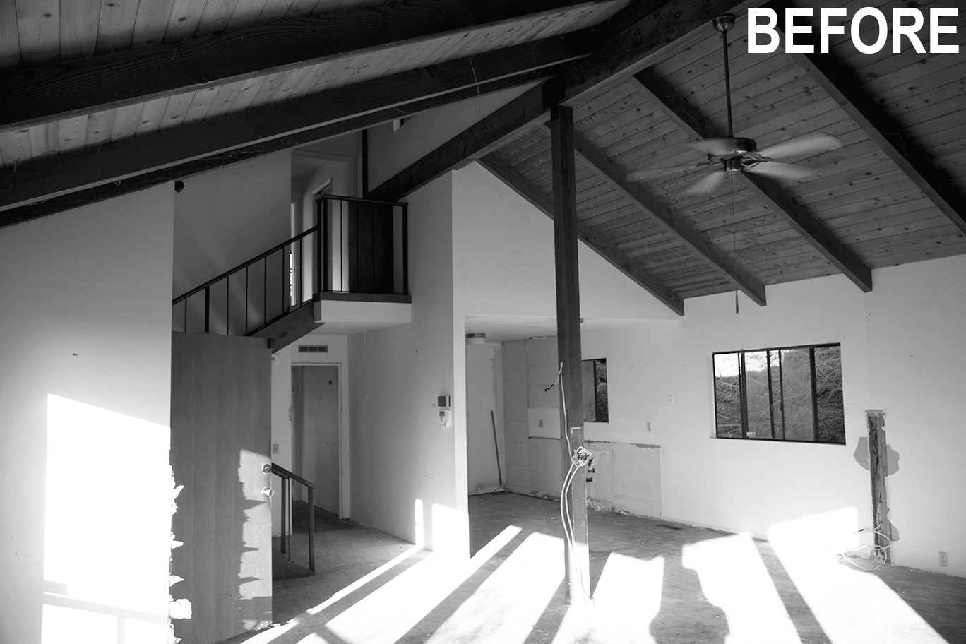 Before Main Kitchen + Stairs with Text