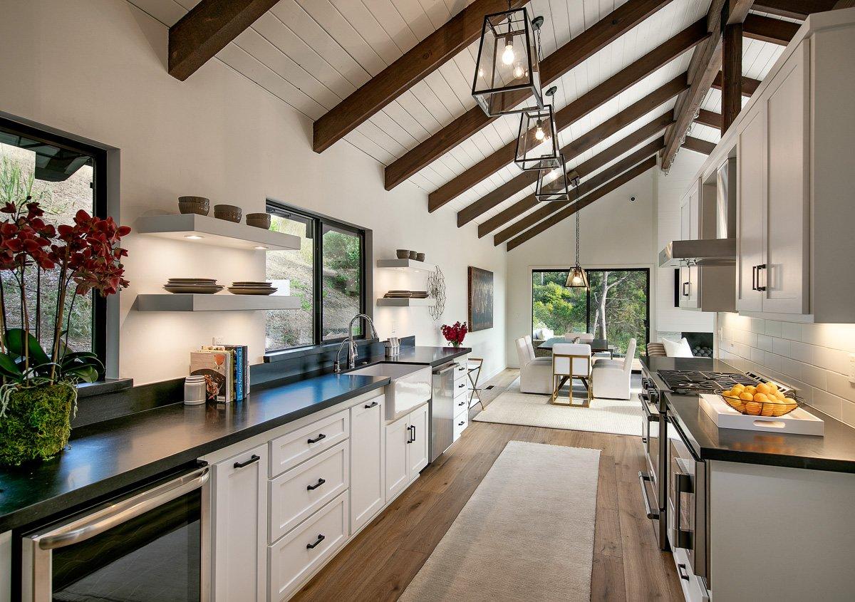 Canyon House-18-Kitchen looking toward rear sliding glass door