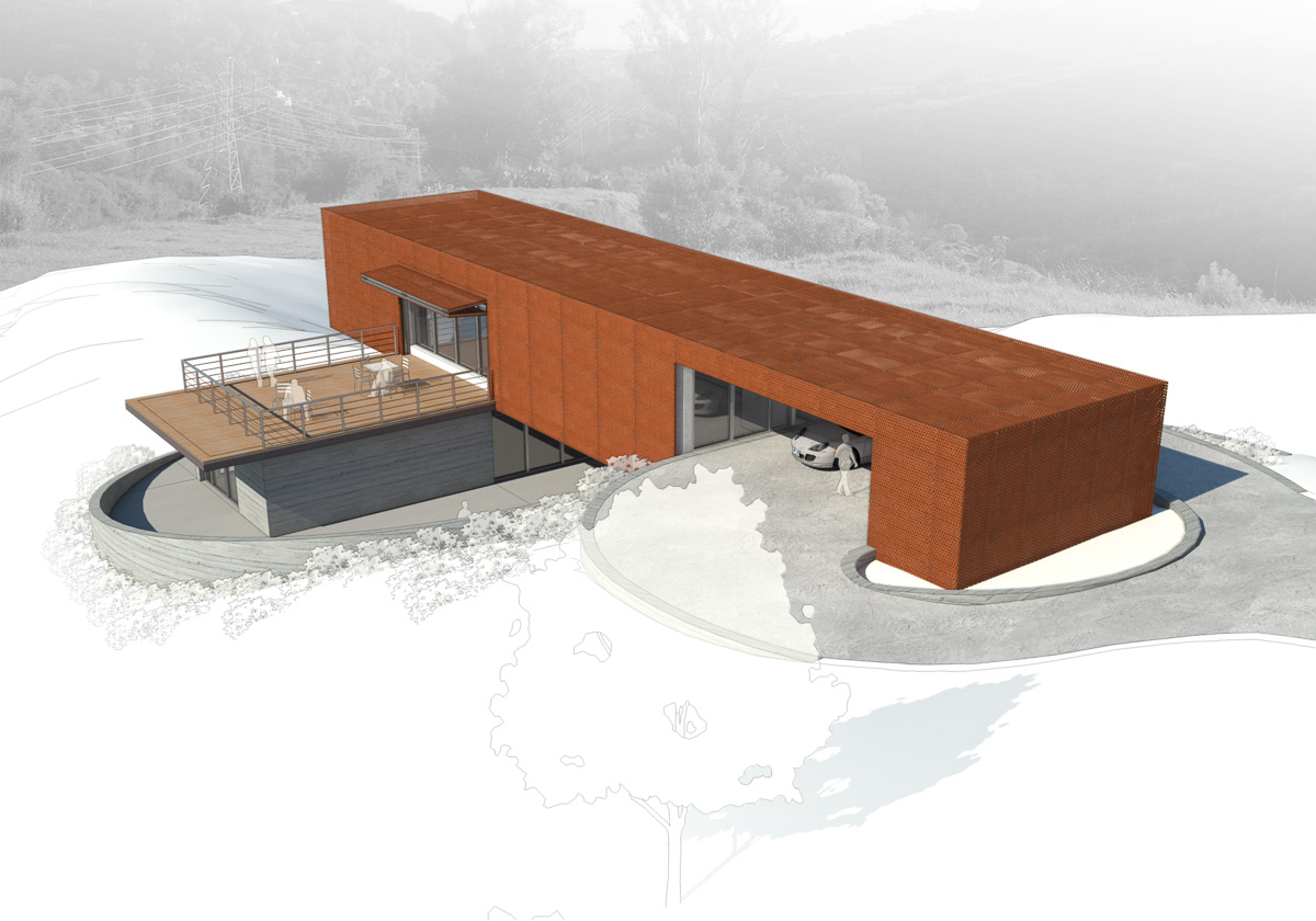 Axis House-10-Birds Eye View Rendering showing carport and deck