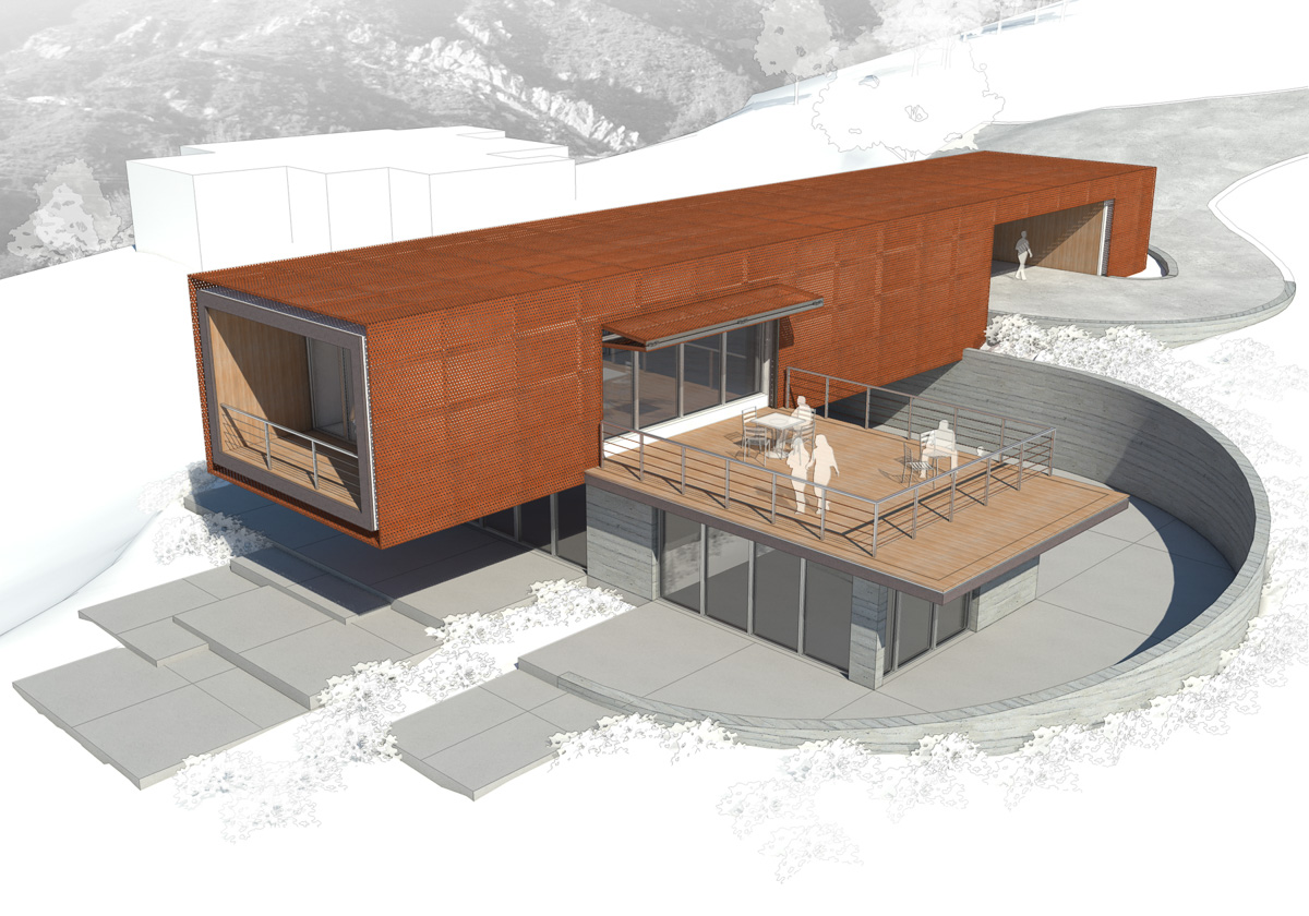 Axis House-5-Rendering of side facade with deck from above