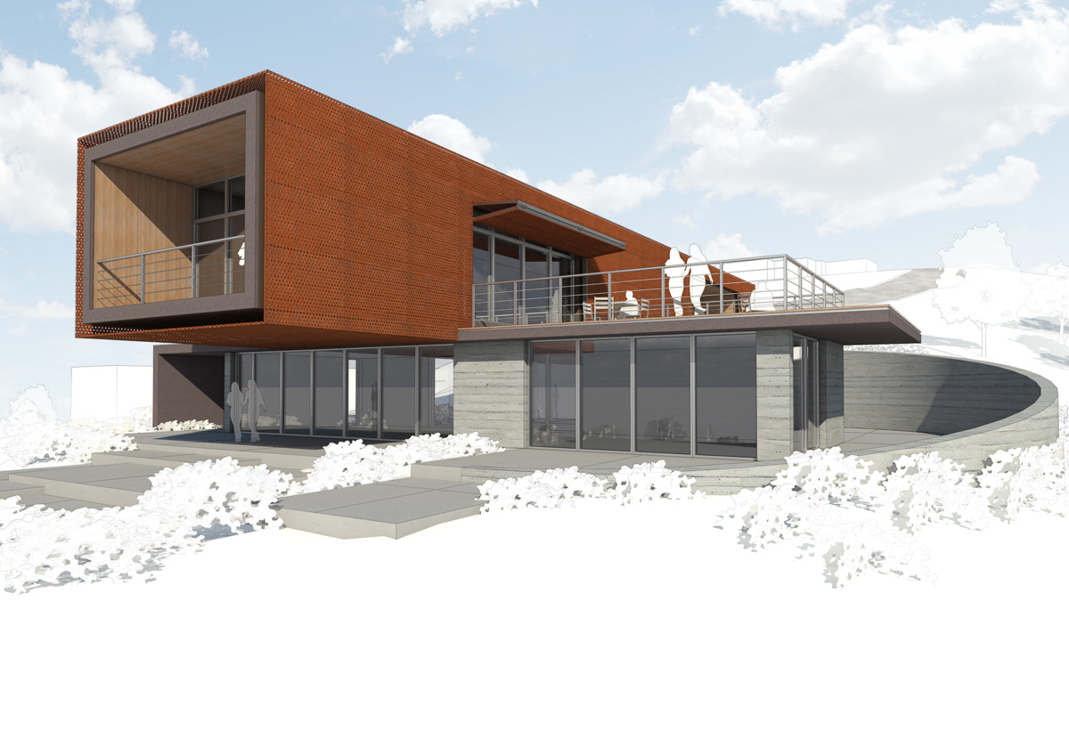 Axis House-6-Rendering of side facade with deck from ground level