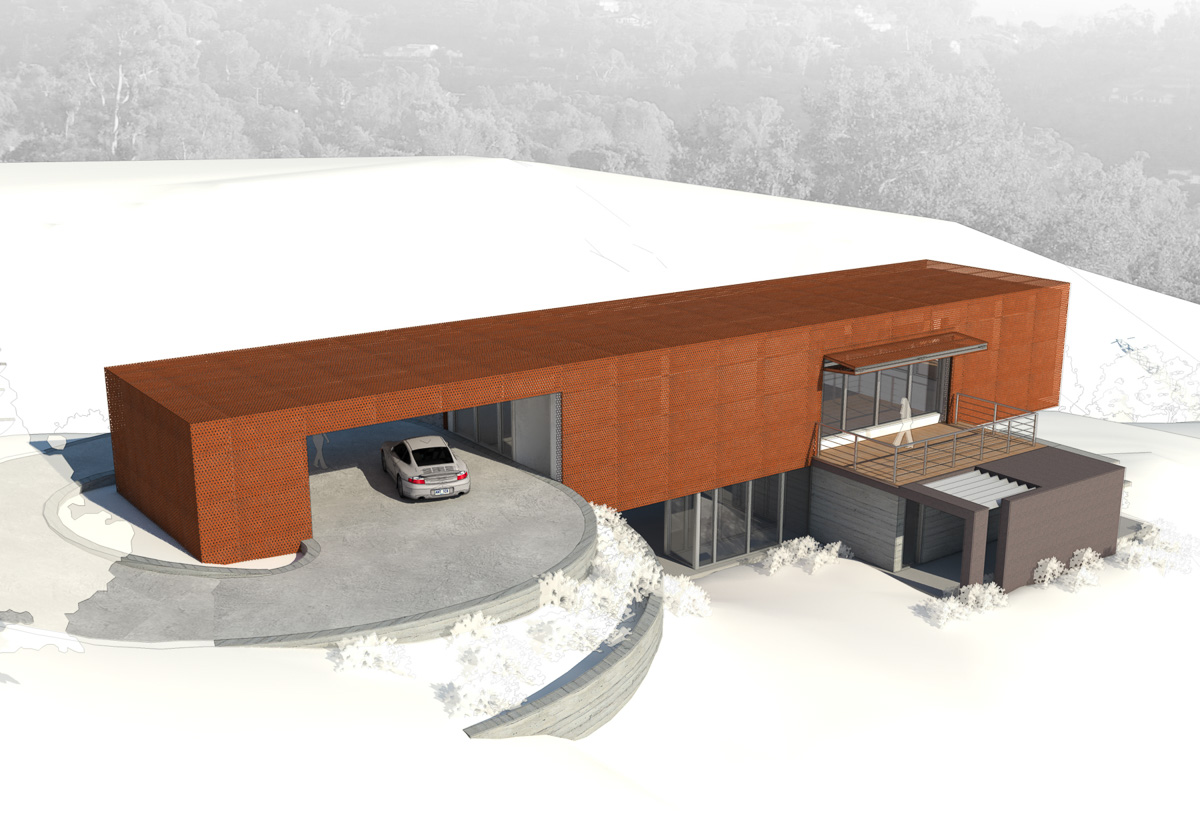 Axis House-8-Rendering of side facade showing carport