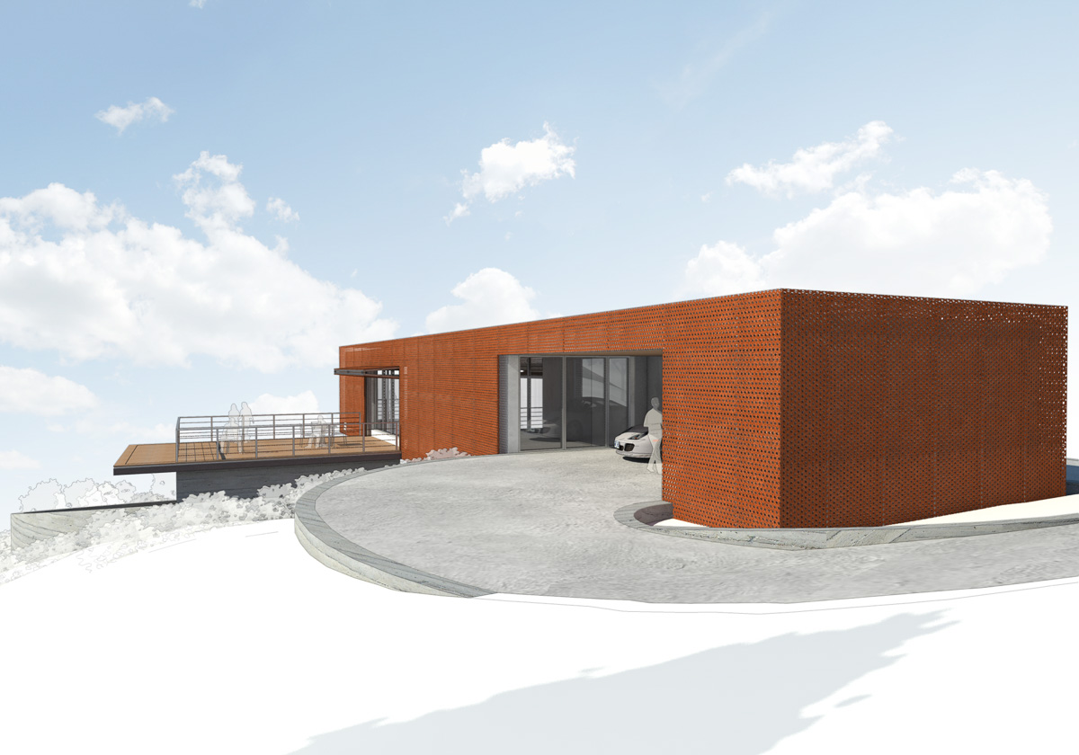 Axis House-9-Rendering of back and side facade showing carport