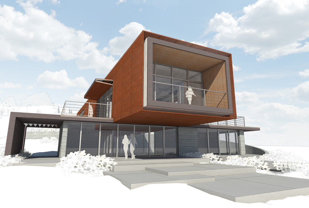 Axis house-11-Rendering of front and side facade from ground level