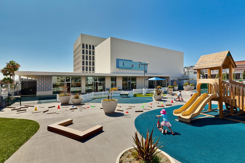 UCLA Child Care Center-@2x-2-Front entrance + playground daytime