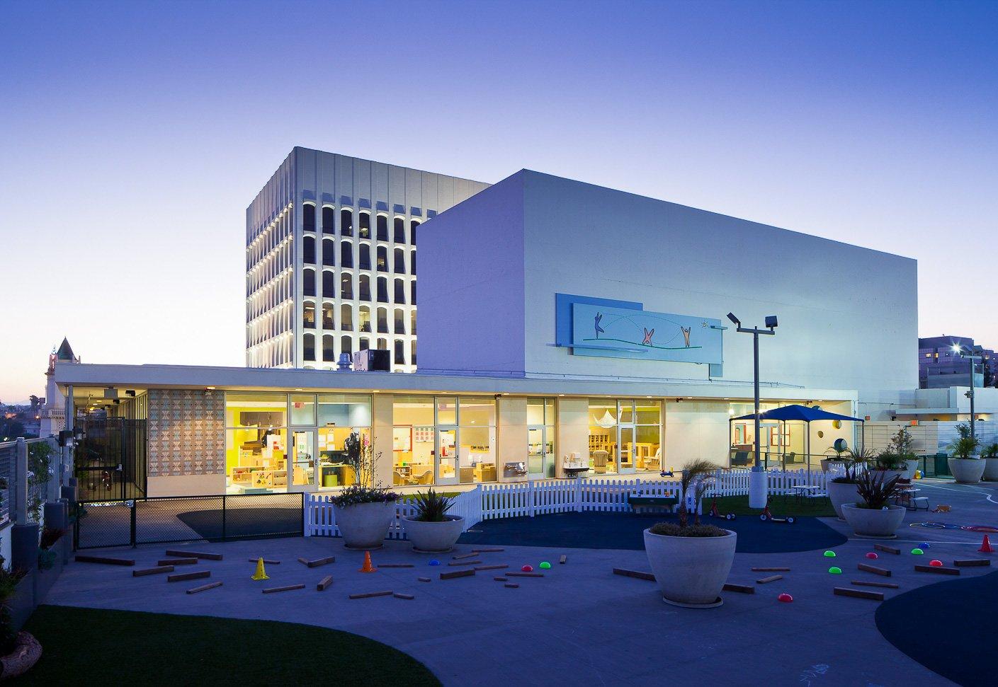UCLA Child Care Center-@2x-Hero-Front entrance at dusk